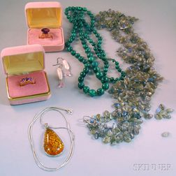 Small Group of Gemstone and Hardstone Jewelry
