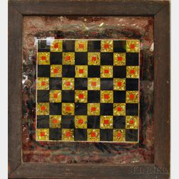 """Framed Reverse-painted Glass """"Tinsel"""" Game Board and an Lakeside Autumn Landscape.     Estimate $200-300"""