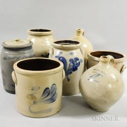 Six Cobalt-decorated Stoneware Crocks and Jugs