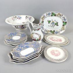 Eighteen Polychrome Transfer-decorated Ceramic Tableware Items