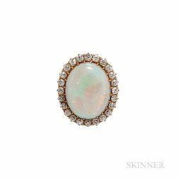 Antique Opal Framed by Diamonds
