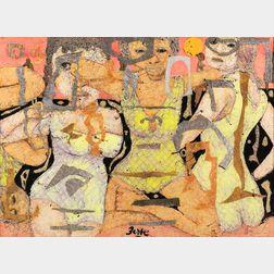 Karl Zerbe (American, 1903-1972)      Abstract (Three Women)
