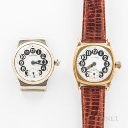 "Two Illinois Watch Co. ""Telephone"" Wristwatches"