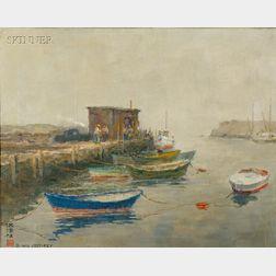 David Wu Ject-Key (Chinese/American, 1890-1968)      Dockside Scene