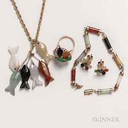 Group of 14kt Gold Multicolored Hardstone Jewelry