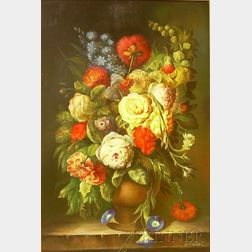 Framed Flemish School Oil on Panel Floral Still Life