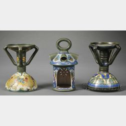 Three Gouda Matte Glaze Pottery Candle Holders