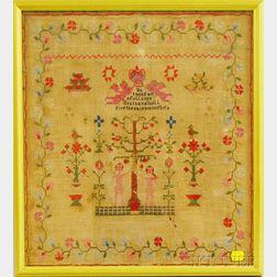 "Framed 19th Century Needlework ""Adam and Eve"" Sampler"