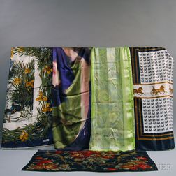 Five Assorted Silk Scarves