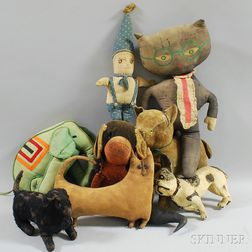Group of Antique Stuffed Animals and Toys