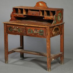 Polychrome Carved Folk Art Desk