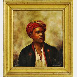 American School, 19th Century      Man in a Red Turban