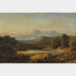 American School, Mid-19th Century      Expansive Mountain Landscape with Figures in Canoe on a Lake