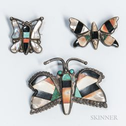Three Zuni Inlay Butterfly Pins