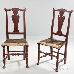 Pair of Queen Anne Red-painted Side Chairs