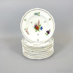 Set of Ten Robert Bloor Derby Floral-decorated Porcelain Plates