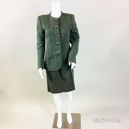 Oscar de la Renta Olive Green Wool Embroidered Suit