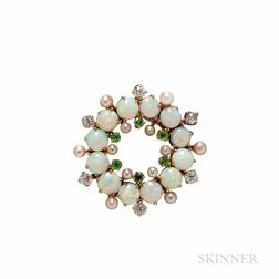 Antique 14kt Gold, Opal, and Demantoid Garnet Brooch