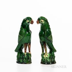 Pair of Chinese Earthenware Parrots