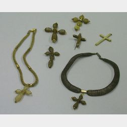 Five 19th Century Hairwork Jewelry Crucifixes and Two Necklaces