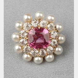 Antique 18kt Gold, Pink Sapphire, Pearl, and Diamond Brooch, T.B. Starr