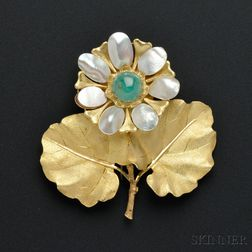18kt Gold and Emerald Flower Brooch, Mario Buccellati
