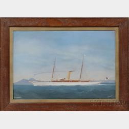 Italian School, Late 19th/Early 20th Century      Portrait of the British Steam Yacht Catania   in the Bay of Naples.