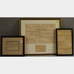 Three Framed 18th and 19th Century Massachusetts Documents