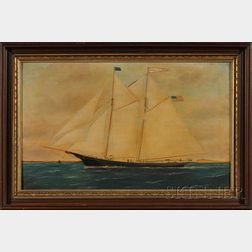 William P. Stubbs (American, 1942-1909)      Portrait of the Schooner FRANK M. NOYES   Off Nashawn Island with   Distant Lighthouse