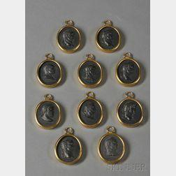 Ten Wedgwood Black Basalt Medallions of Caesars