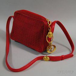 Christian Dior Red Cloth Shoulder Bag