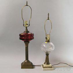Two Glass Kerosene Lamps