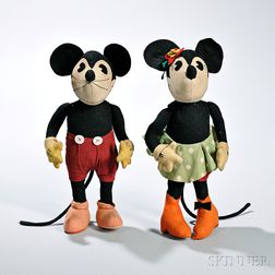 Pair of Walt Disney Needleart Toys Mickey and Minnie Mouse Dolls