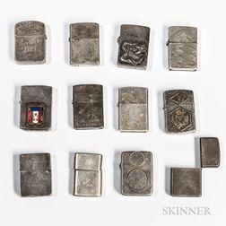Twelve Silver World War II Silver Lighters