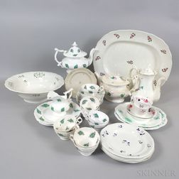 Thirty-eight Sprig-decorated Ceramic Tableware Items