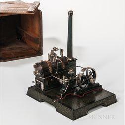 Early Marklin Model Steam Engine on Platform with Original Box
