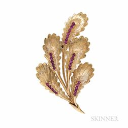 18kt Gold and Ruby Leaf Brooch