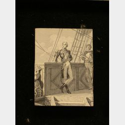 Framed Printing Block Depicting Admiral Nelson.