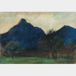 Lesser Ury (German, 1861-1931)      Mountains Silhouetted Against Twilight Sky