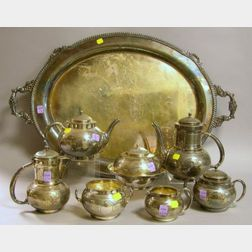 Seven-Piece Gorham Silver Plated Tea and Coffee Service with a Silver Plated Serving   Tray