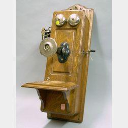 Kellogg Co. Oak Wall Mounted Magneto Telephone