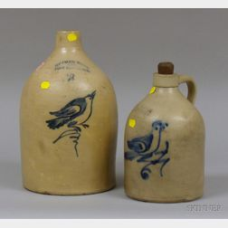 Two Ottman Bros. & Co. Fort Edward, New York Cobalt Bird on Sprig Decorated   Stoneware Jugs