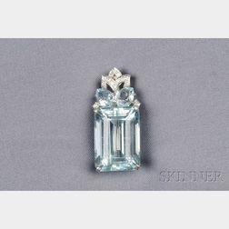 Platinum, Aquamarine, and Diamond Pendant/Brooch, Mounted by Cartier