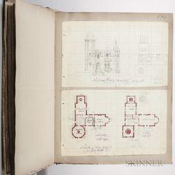 Hammatt Billings, Charles Howland (1818-?) and Joseph Edward Billings (Mid-19th Century) Original Architectural Scrapbook, c. 1840-1880