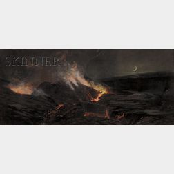 Charles Furneaux (American, 1835-1913)      View of a Volcanic Eruption, Probably Kilauea Caldera on Mauna Loa