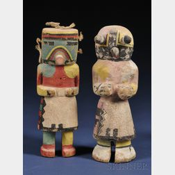 Two Southwest Polychrome Carved Wood Kachinas