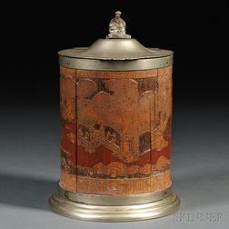 Carved Bamboo Container with Hinged Metal Cover