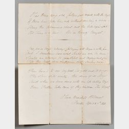 Holmes, Oliver Wendell, Senior (1809-1894) Signed Poetry Transcription, 27 April 1868.