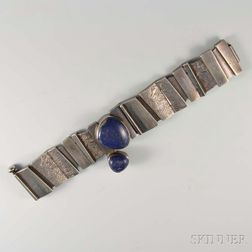 Jan Lohmann Modern Sterling Silver and Lapis Bracelet