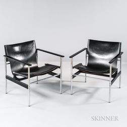 Two Charles Pollock Sling Armchairs